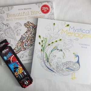 Adult Colouring Books + Pencil Crayons